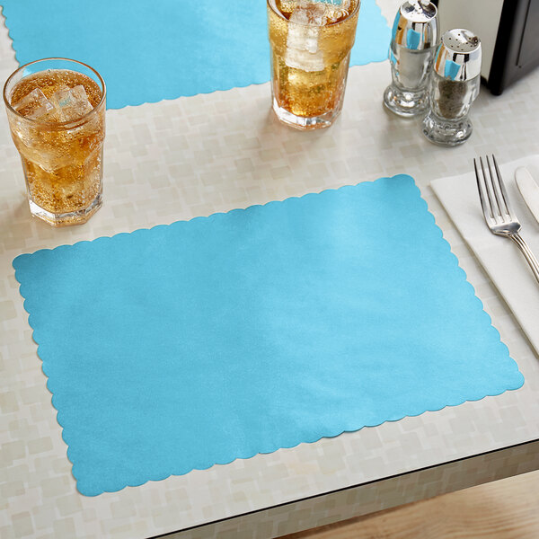 """Choice 10"""" x 14"""" Sky Blue Colored Paper Placemat with Scalloped Edge - 1000/Case Main Image 2"""