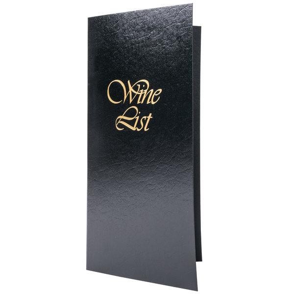 "Menu Solutions L702C 5 1/2"" x 11"" Black Wine List Cover Main Image 1"