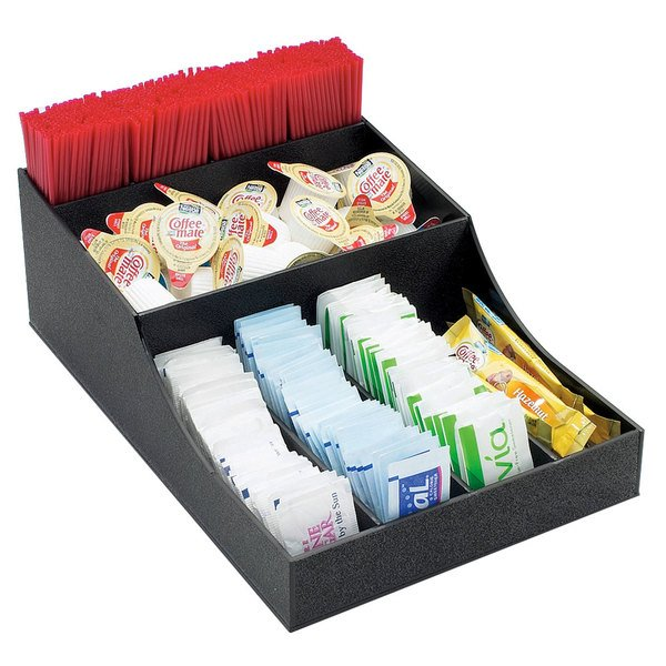 Black three compartment coffee and condiment organizer with straws, creamer, and sugar packets