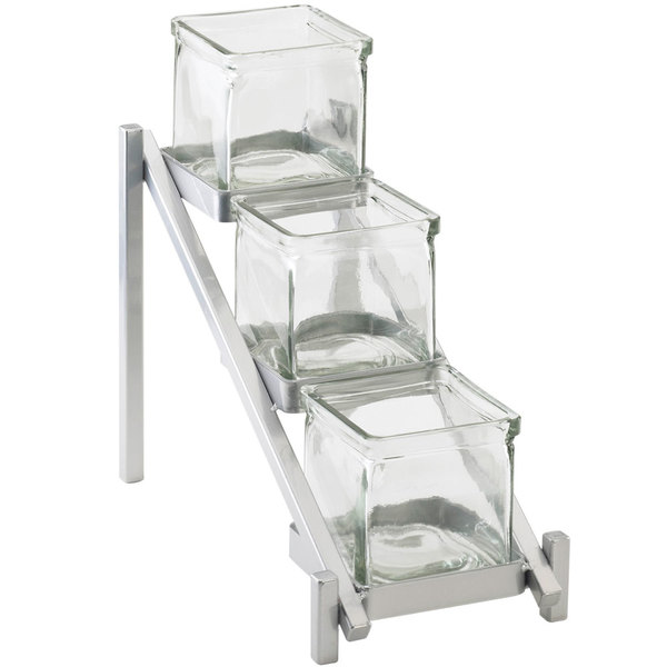 "Cal-Mil 1149-74 One by One Three Tier Silver Jar Display - 6 1/4"" x 13 1/4"" x 11 1/2"""