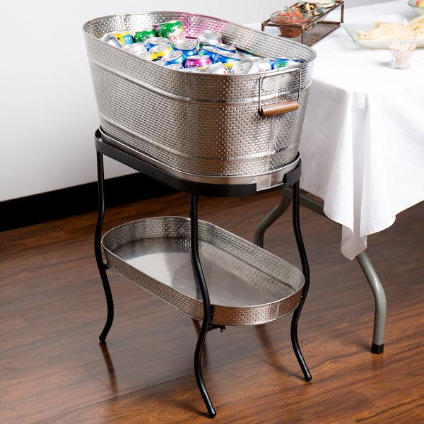 """Tablecraft GTSS2313N Brickhouse Stainless Steel Beverage Tub Set - 27 1/2"""" x 15"""" x 32"""""""
