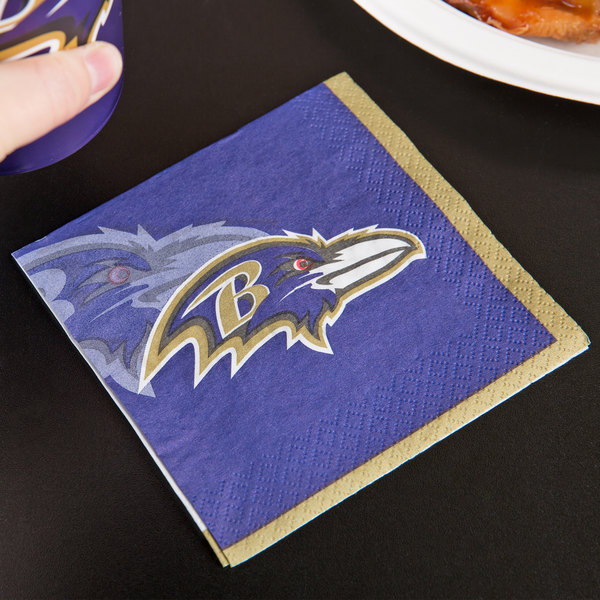 Creative Converting 659503 Baltimore Ravens 2-Ply Beverage Napkin - 192/Case Main Image 3