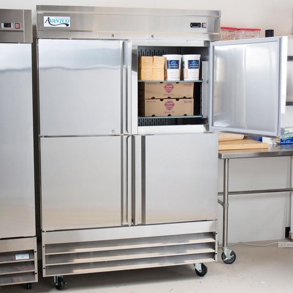 "Avantco SS-2R-4-HC 54"" Stainless Steel Solid Half Door Reach-In Refrigerator Main Image 5"