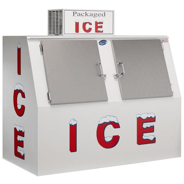 """Leer 60ASL 73"""" Outdoor Auto Defrost Ice Merchandiser with Slanted Front and Stainless Steel Doors"""