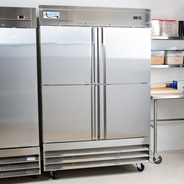 """Avantco SS-2F-4-HC 54"""" Stainless Steel Solid Half Door Reach-In Freezer"""