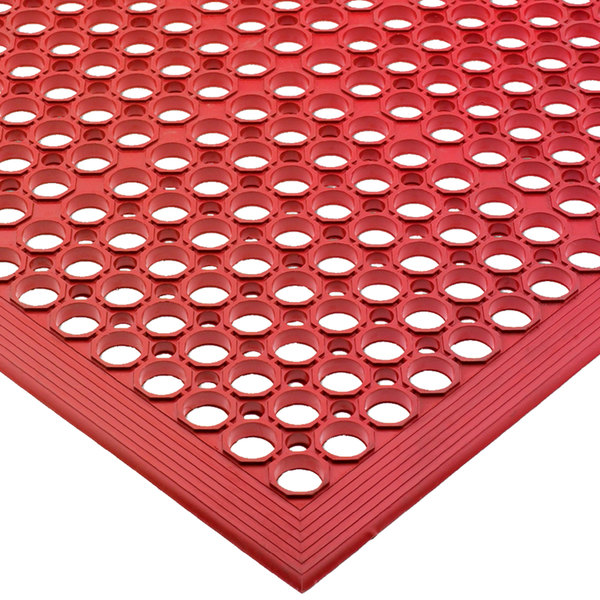 "San Jamar KM1200 EZ-Mat 3' x 5' Red Grease-Resistant Floor Mat with Beveled Edge - 1/2"" Thick"