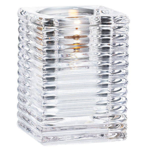 """Sterno 80142 4"""" Clear Ribbed Kelly Square Liquid Candle Holder Main Image 1"""