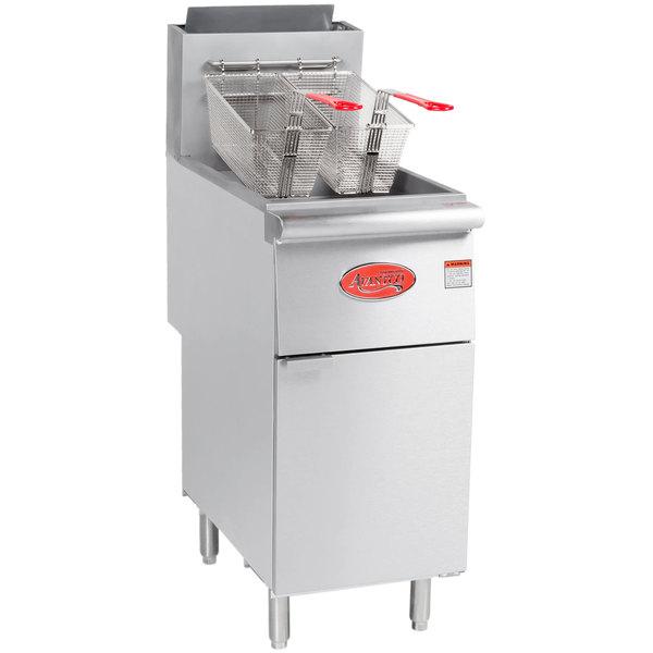 Avantco FF400 Natural Gas 50 lb. Stainless Steel Floor Fryer