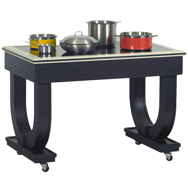 """Bon Chef 50075 Deco 48"""" x 30"""" x 36"""" Black Wood Table with 2 Induction Warmers - 120V Main Image 1"""