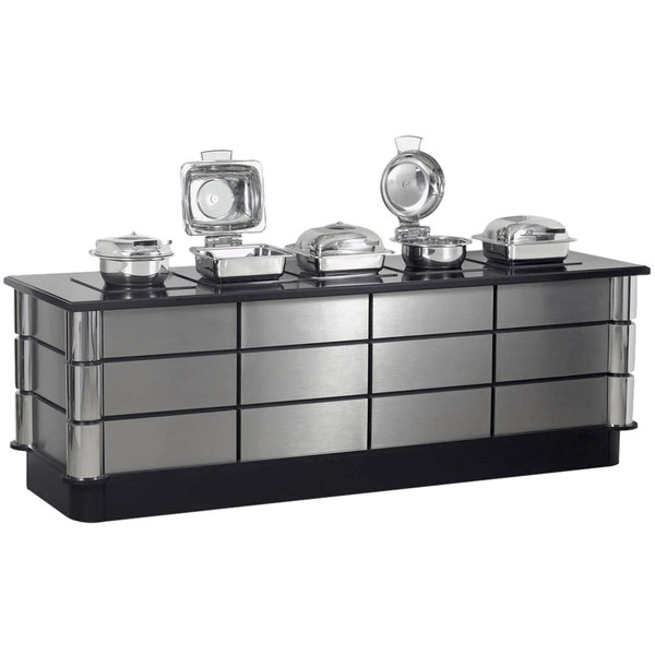 """Bon Chef 50158 96"""" x 30"""" x 34"""" Stainless Steel Contemporary Buffet with 5 Induction Ranges - 110V Main Image 1"""