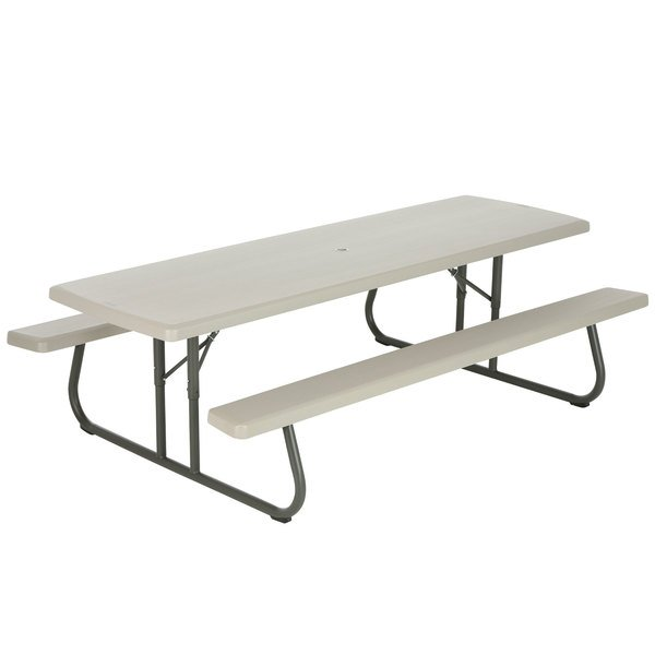 Pleasing Lifetime 80123 30 X 96 Rectangular Putty Plastic Folding Picnic Table With Attached Benches Squirreltailoven Fun Painted Chair Ideas Images Squirreltailovenorg
