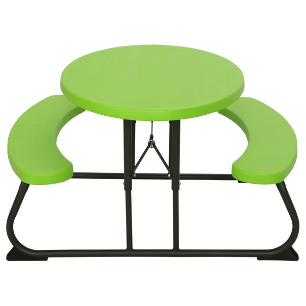 Pleasing Lifetime 60132 24 13 16 X 34 Oval Lime Green Plastic Kids Folding Picnic Table With Attached Benches Squirreltailoven Fun Painted Chair Ideas Images Squirreltailovenorg