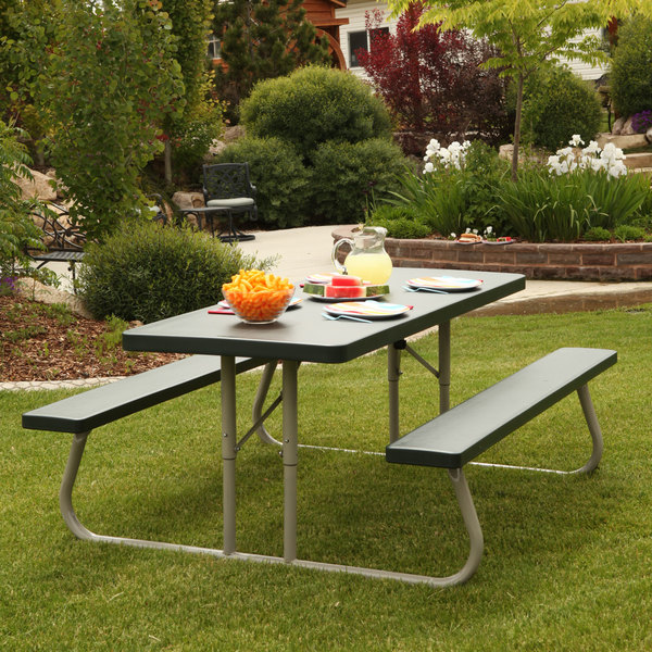 lifetime 22123 30 x 72 rectangular hunter green plastic folding picnic table with attached benches. Black Bedroom Furniture Sets. Home Design Ideas