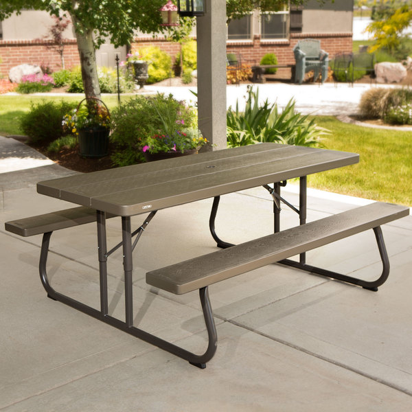 Lifetime 60105 30 x 72 rectangular brown faux wood folding picnic lifetime 60105 30 x 72 rectangular brown faux wood folding picnic table with attached benches watchthetrailerfo