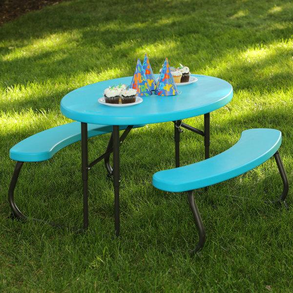 lifetime 60229 24 13 16 x 34 oval glacier blue plastic kids folding picnic table with attached. Black Bedroom Furniture Sets. Home Design Ideas