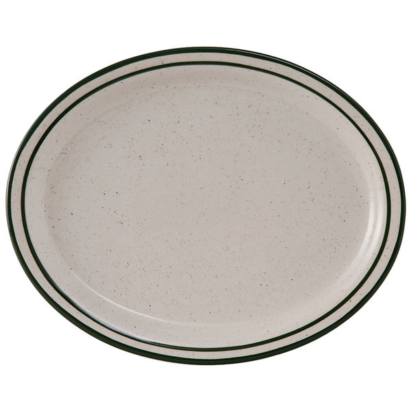 "Tuxton TES-013 Emerald 11 1/2"" x 9 1/8"" Green Speckle Narrow Rim Oval China Platter - 12/Case"