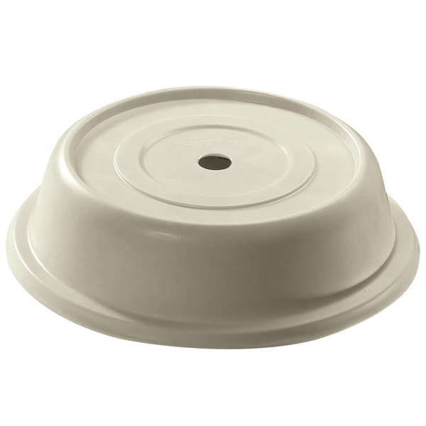 "Cambro 124VS101 Versa Antique Parchment Camcover 12 1/4"" Round Plate Cover - 12/Case Main Image 1"