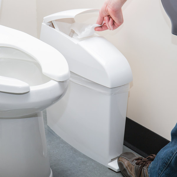 Rubbermaid FG750243 TC 12 Qt. / 3 Gallon Step-On White Sanitary Bin Main Image 4