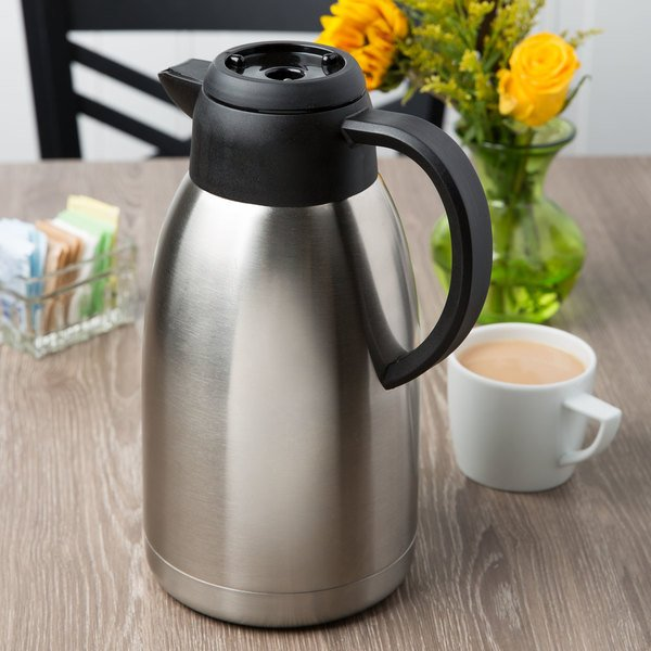 "Choice 64 oz. Insulated Thermal Coffee Carafe / Server with Regular and Decaf Brew Thru Lids - 10 3/4"" x 5 1/4"" Main Image 3"