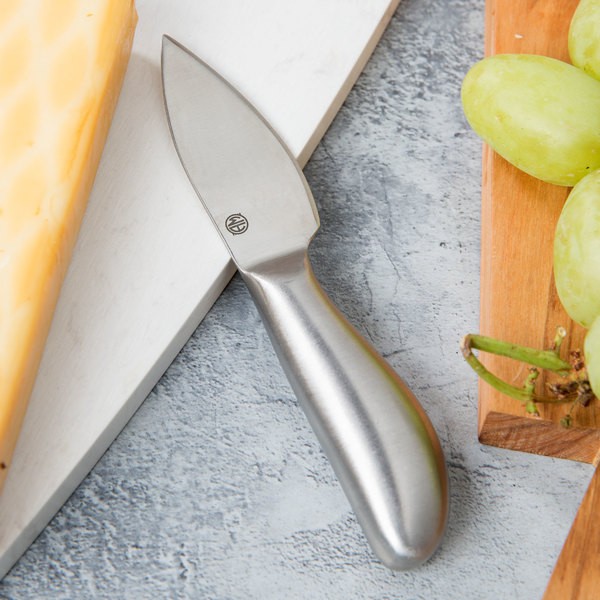 "American Metalcraft CKNF2 Evolution 5 1/4"" Stainless Steel Semi-Hard Cheese Cheese Knife"