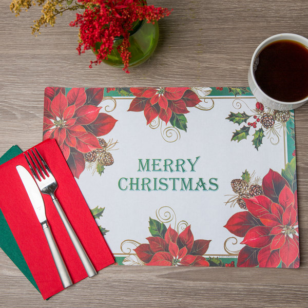 """Hoffmaster 856794 10"""" x 14"""" Merry Christmas Placemat Combo Pack - 250/Case"""