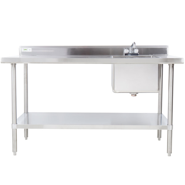"""Sink on Right Regency 30"""" x 96"""" 16 Gauge Stainless Steel Work Table with Sink"""