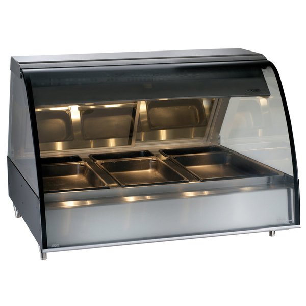 """Alto-Shaam TY2-48 BK Black Countertop Heated Display Case with Curved Glass - Full Service 48"""""""