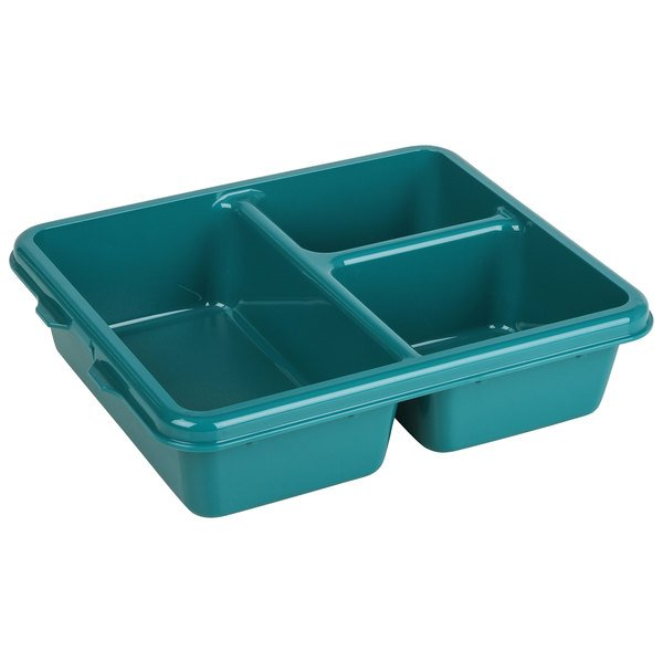 """Cambro 9113CW414 Camwear Teal 9"""" x 11"""" 3 Compartment Meal Delivery Tray - 24/Case"""