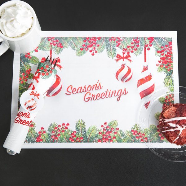 """Hoffmaster 856795 10"""" x 14"""" Ornaments Placemat Combo Pack - 250/Case"""