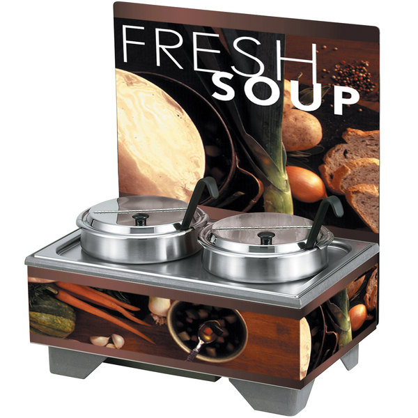 Vollrath 720202102 Full Size Soup Merchandiser Base with Menu Board, 7 Qt. Accessory Pack, and Tuscan Graphics - 120V, 1000W