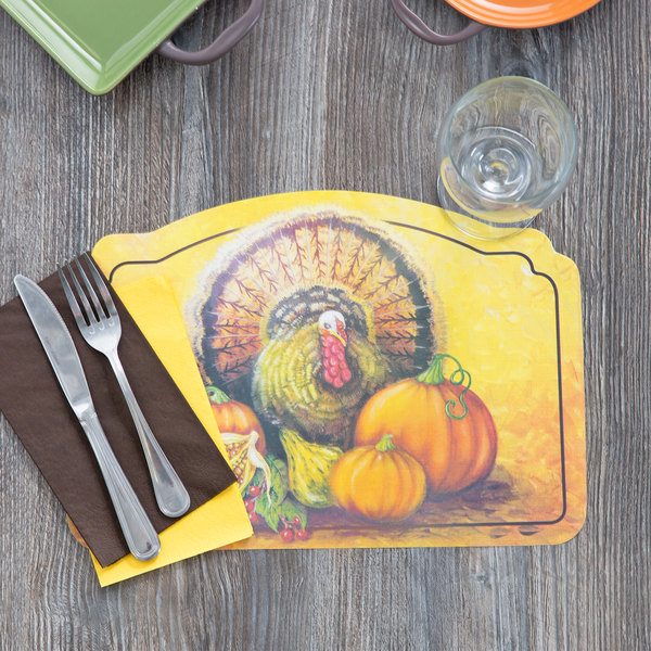 "Hoffmaster 856793 10"" x 14"" Thanksgiving Placemat Combo Pack - 250/Case"