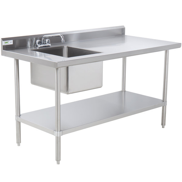 X Stainless Steel Work Table With LEFT Sink Backsplash And - Stainless steel work table with sink