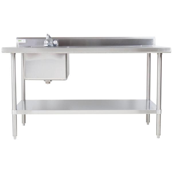 Regency X Gauge Stainless Steel Work Table With Sink - Stainless steel work table 30 x 48