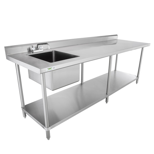 Complete Your Commercial Kitchen S Prep Area With This Regency 30 X 96 Stainless Steel Work Table Sink