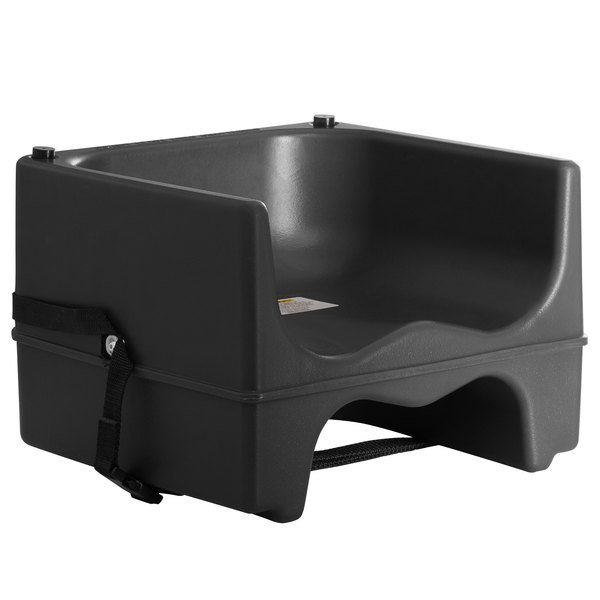 Lancaster Table & Seating Black Dual Height Plastic Booster Seat with Strap