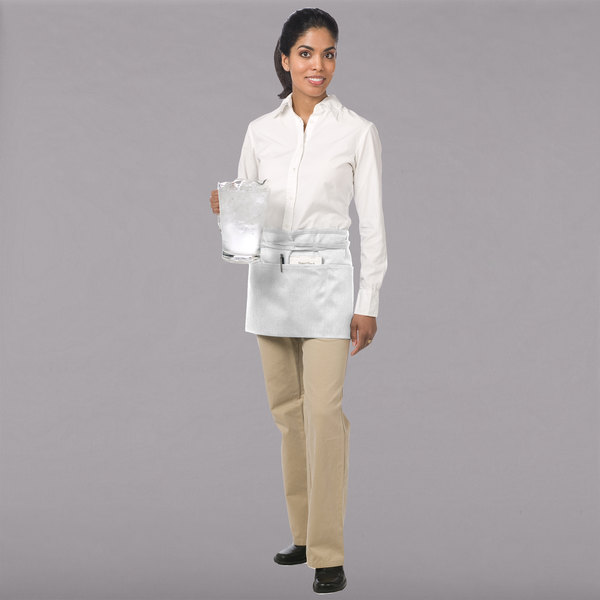 """Chef Revival 605WAFH-WH Customizable White Front of the House Waist Apron - 12""""L x 24""""W"""