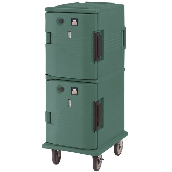 Cambro UPCH800192 Granite Green Ultra Camcart Two Compartment Heated Holding Pan Carrier with Casters, Both Compartments Heated - 110V