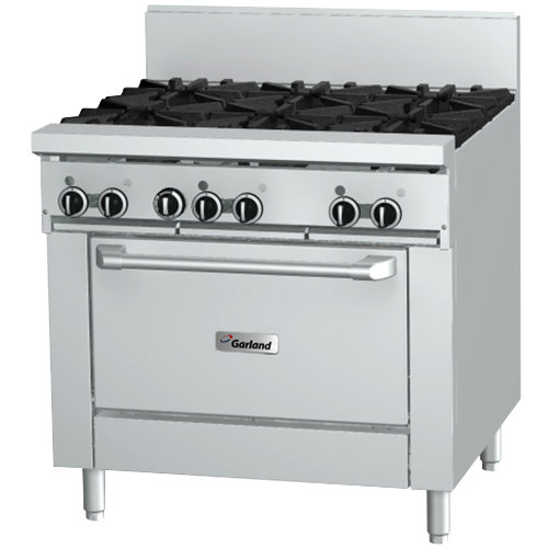 "Garland GF36-6R Liquid Propane 6 Burner 36"" Range with Flame Failure Protection and Standard Oven - 194,000 BTU"