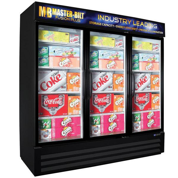 "Master-Bilt MBGRP74-HG-B Fusion Plus 78"" Black Glass Door Refrigerated Merchandiser"