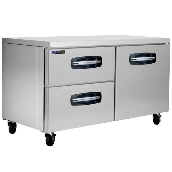 """Master-Bilt MBUR60A-003 60"""" Fusion Undercounter Refrigerator with 1 Right Door and 2 Left Drawers"""
