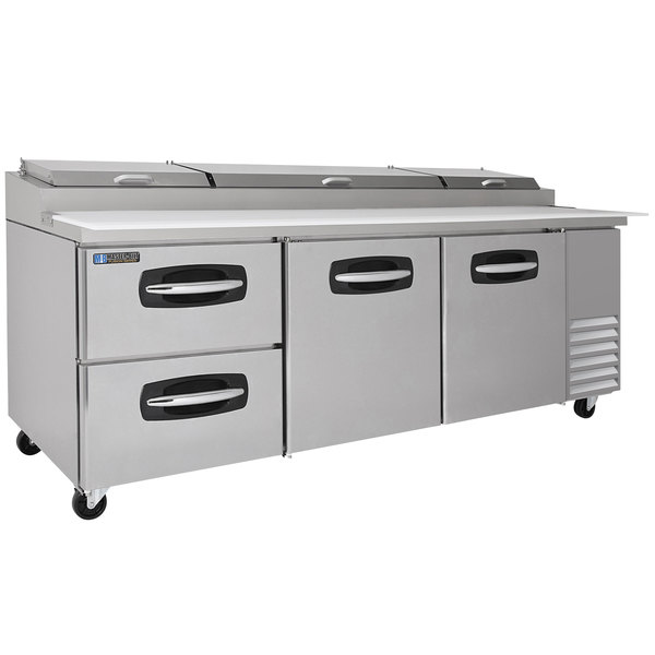 """Master-Bilt MBPT93-003 93"""" 2 Right Door and 2 Left Drawer Refrigerated Pizza Prep Table"""