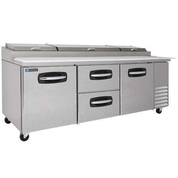 "Master-Bilt MBPT93-004 93"" 2 Side Door and 2 Middle Drawer Refrigerated Pizza Prep Table"