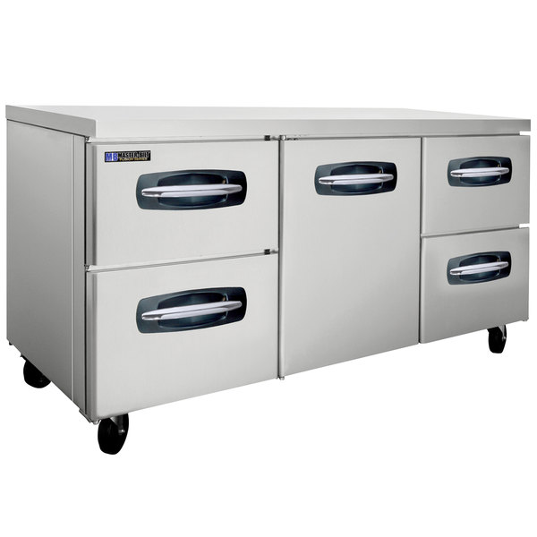 "Master-Bilt MBUR72A-005 72"" Fusion Undercounter Refrigerator with 1 Middle Door and 4 Side Drawers"