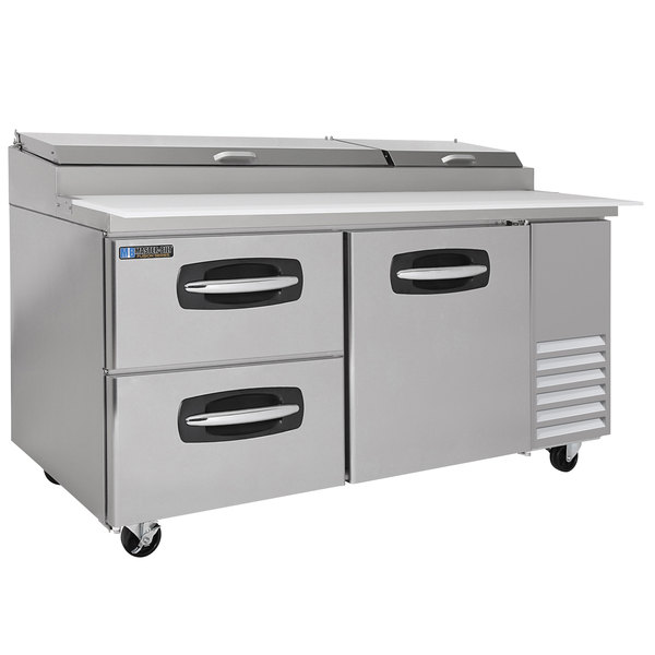 """Master-Bilt MBPT67-003 67"""" 1 Right Door and 2 Left Drawer Refrigerated Pizza Prep Table"""