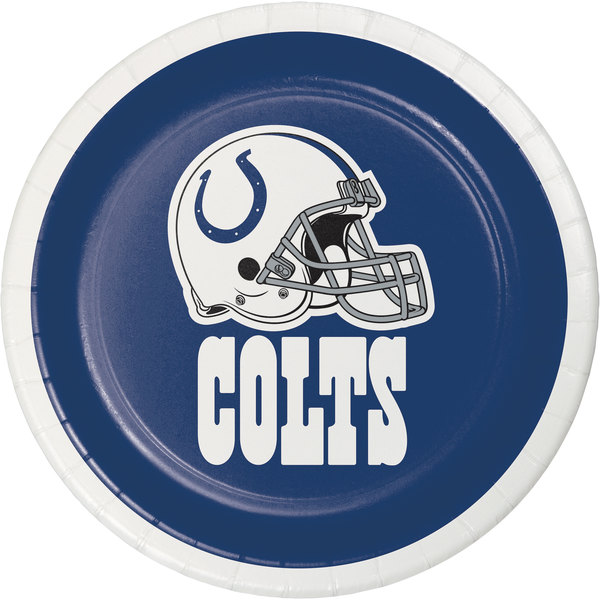 """Creative Converting 419534 Indianapolis Colts 7"""" Luncheon Paper Plate - 96/Case Main Image 1"""