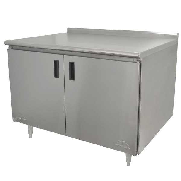 "Advance Tabco HF-SS-243 24"" x 36"" 14 Gauge Enclosed Base Stainless Steel Work Table with Hinged Doors and 1 1/2"" Backsplash"