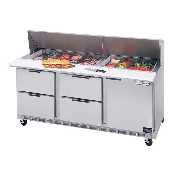 "Beverage Air SPED72HC-24M-4 72"" 1 Door 4 Drawer Mega Top Refrigerated Sandwich Prep Table"