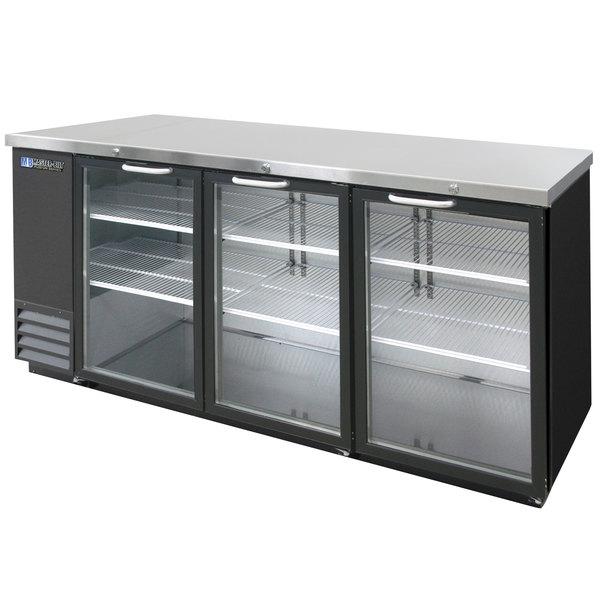"Master-Bilt MBBB79G Fusion 81"" Black Glass Door Back Bar Refrigerator with LED Lighting Main Image 1"