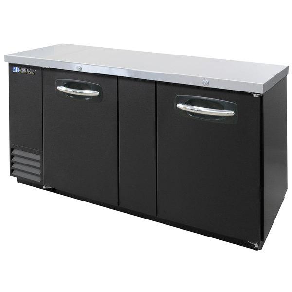 "Master-Bilt MBBB69 Fusion 69"" Black Solid Door Back Bar Refrigerator with LED Lighting"
