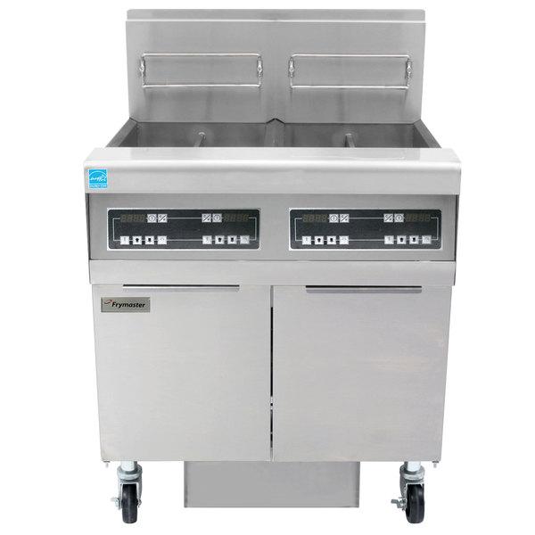 Frymaster FPPH255 Liquid Propane 100 lb. 2 Unit High-Efficiency Gas Floor Fryer System with Digital Controls - 160,000 BTU Main Image 1